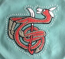 French Knot Embroidery Fox Letter T by Donna Huntriss