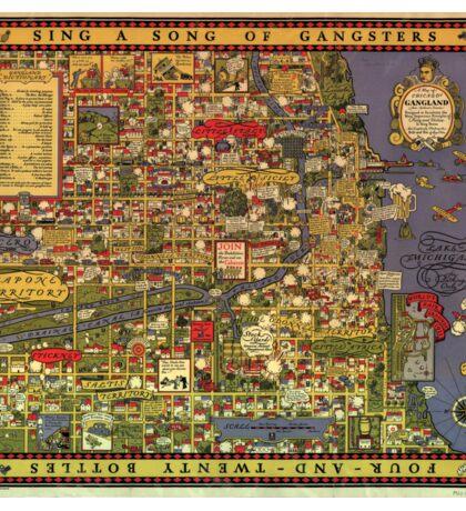 Funny Vintage Cartoon Chicago Gangland Map Sticker