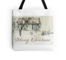 Rural Barn Christmas Scene Tote Bag