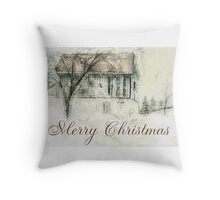 Rural Barn Christmas Scene Throw Pillow