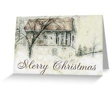 Rural Barn Christmas Scene Greeting Card