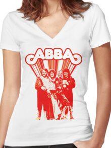 AGNETHA, BENNY, FRIDA, BJORN monochrome red & white Eurovision design Women's Fitted V-Neck T-Shirt