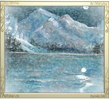 snow flurries under moon over lake of blue by francelle  huffman