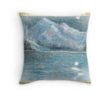 snow flurries under moon over lake of blue Throw Pillow