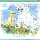kitten and the duck   by francelle  huffman