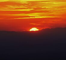 Sunset over the Blue Ridge from the top of Pilot Mountain by paulboggs