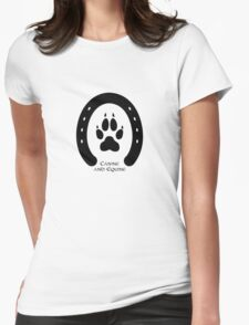 Horse shoe and canine paw print Womens Fitted T-Shirt