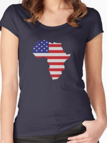 African American Africa United States Flag Women's Fitted Scoop T-Shirt