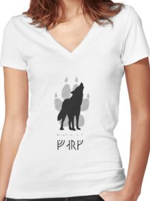 Howling wolf with viking runes Women's Fitted V-Neck T-Shirt