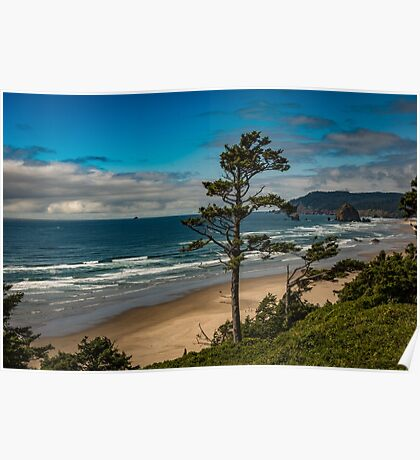 Water Beach Blue Ocean Travel Sun Digital Photograph Illustation wall art tapestry - Cannon Beach Poster