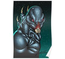 Red Eyed Evil Alien Sci-Fi Monster by Al Rio Poster