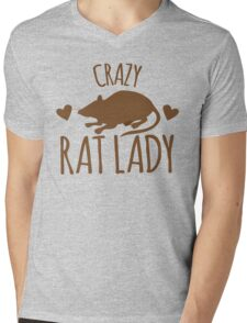CRAZY RAT LADY Mens V-Neck T-Shirt