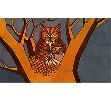 Great horned owl and babies Photographic Print