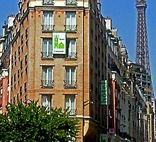 Eiffel Tower Behind Building by Erika Benoit