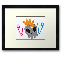 Skull with baby diaper nappy safety pins Framed Print