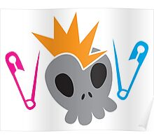 Skull with baby diaper nappy safety pins Poster