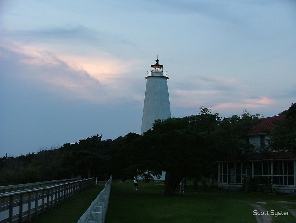 Ocracoke lighthouse at sunset by Scott Syster