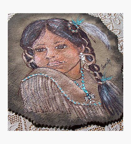 INDIAN GIRL ON LEATHER  Photographic Print
