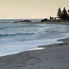 Mount Maunganui surf beach at dusk. by Judy Harland