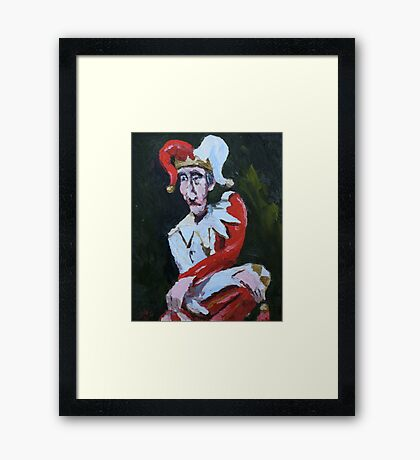 Jester in Red and White Framed Print