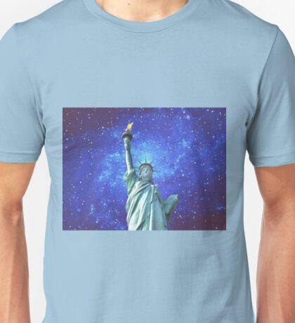 Statue of Liberty - Night Sky Unisex T-Shirt