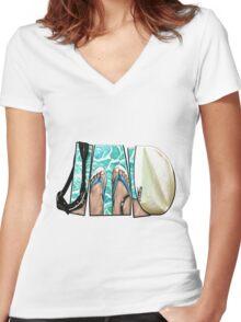 The Swimmer - White Women's Fitted V-Neck T-Shirt