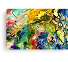 abstract art, blue, green, red, black, dark, Canvas Print