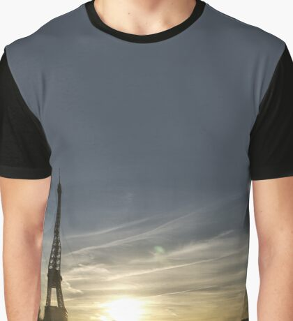 Eiffel Tower Fire in the Sky Sunset Graphic T-Shirt