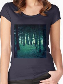 Retro Pine Forest Women's Fitted Scoop T-Shirt