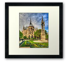 Notre Dame with Garden & Fountain Framed Print