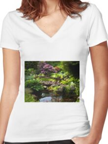 Beautiful perfect garden landscape Women's Fitted V-Neck T-Shirt