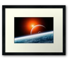 Planet Earth with Double Moon Framed Print