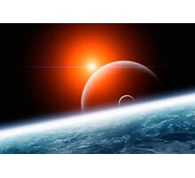 Planet Earth with Double Moon Photographic Print