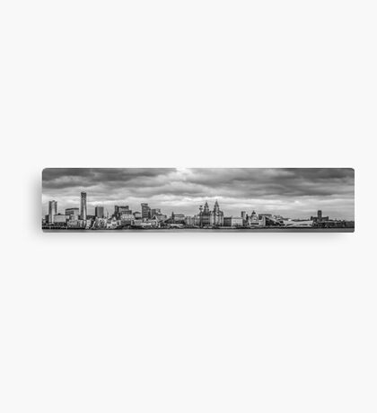 Liverpool panoramic waterfront black and white Canvas Print