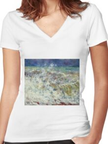 Auguste Renoir - The Wave (1882) Women's Fitted V-Neck T-Shirt