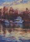 North Haven boats at sunset by Terri Maddock