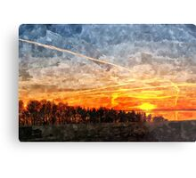 Beautiful winter sunset landscape background Metal Print
