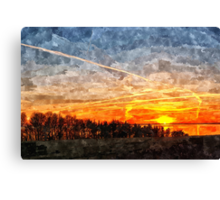 Beautiful winter sunset landscape background Canvas Print