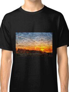 Beautiful winter sunset landscape background Classic T-Shirt