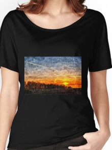 Beautiful winter sunset landscape background Women's Relaxed Fit T-Shirt