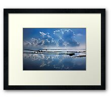 Mirroring the clouds - Messolonghi lagoon Framed Print