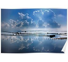 Mirroring the clouds - Messolonghi lagoon Poster