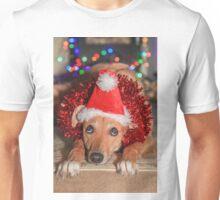 Funny Dog Wearing A Santa Hat At Christmas Unisex T-Shirt