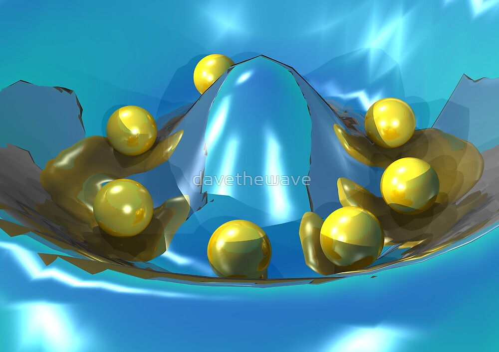 Gold balls in a blue depression by davethewave