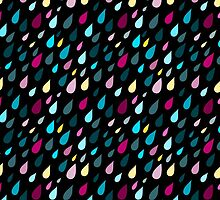 Rainy day pattern in black  by HelgaScand