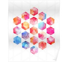 Radiant Hexagons - geometric watercolor painting Poster