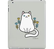 White Odd Eyed Cat with Flowers iPad Case/Skin