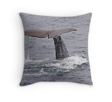 SpermWhale diving Throw Pillow