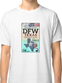 DALLAS FORT WORTH AIRPORT TEXAS LUGGAGE BAGGAGE TAG FLAG DFW Classic T-Shirt