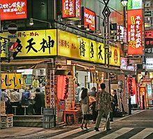 Tokyo - Street scene by night by sparrowhawk